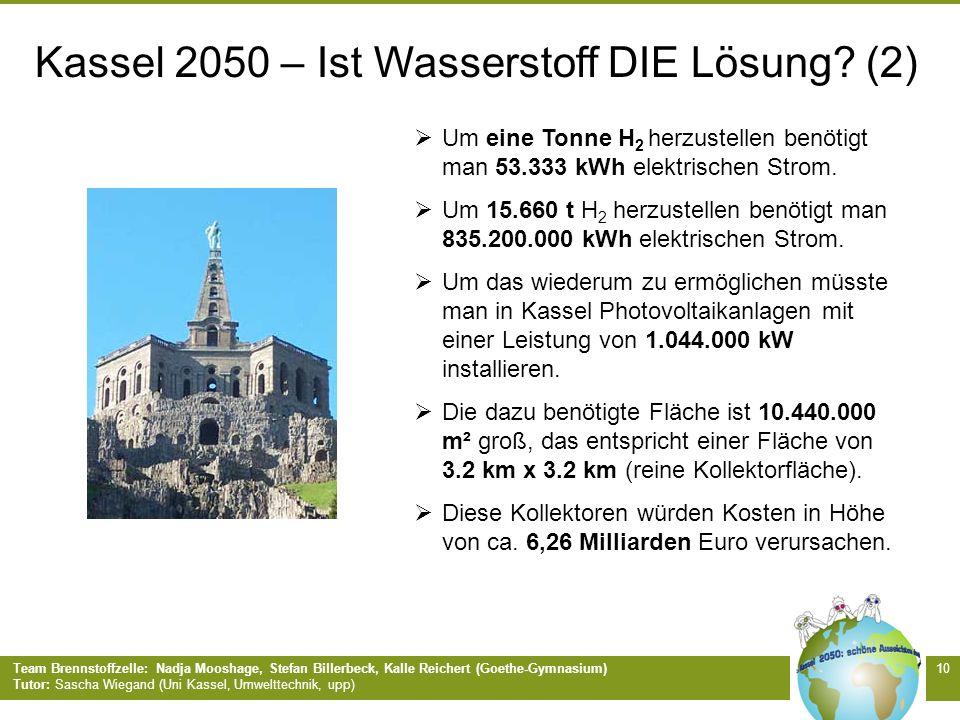 Team Brennstoffzelle: Nadja Mooshage, Stefan Billerbeck, Kalle Reichert (Goethe-Gymnasium) Tutor: Sascha Wiegand (Uni Kassel, Umwelttechnik, upp) 10 U
