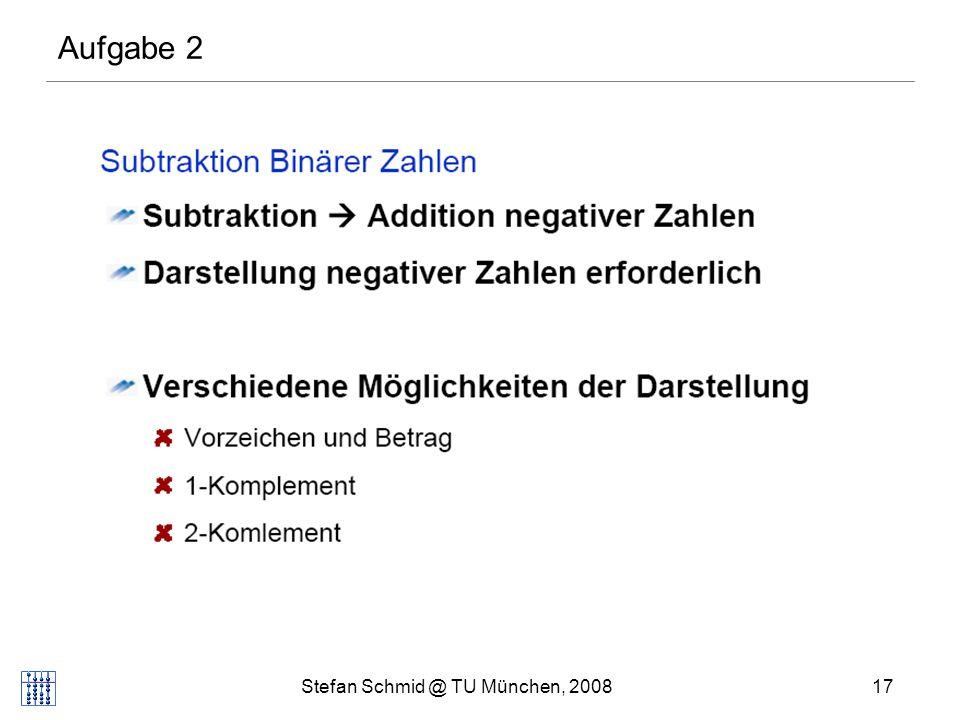 Stefan Schmid @ TU München, 200817 DISTRIBUTED COMPUTING Aufgabe 2