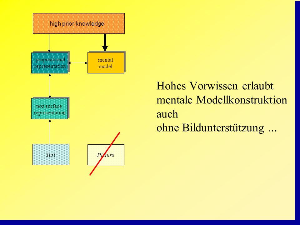 Picture mental model propositional representation text surface representation Text high prior knowledge Hohes Vorwissen erlaubt mentale Modellkonstruk