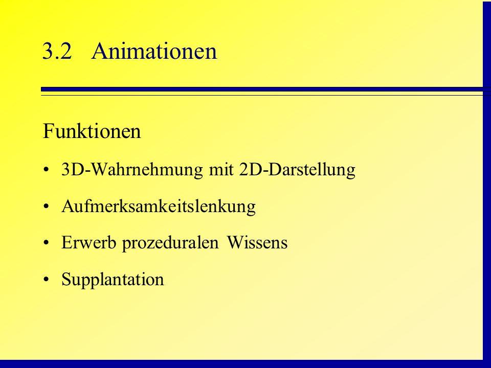 3.2Animationen Funktionen 3D-Wahrnehmung mit 2D-Darstellung Aufmerksamkeitslenkung Erwerb prozeduralen Wissens Supplantation