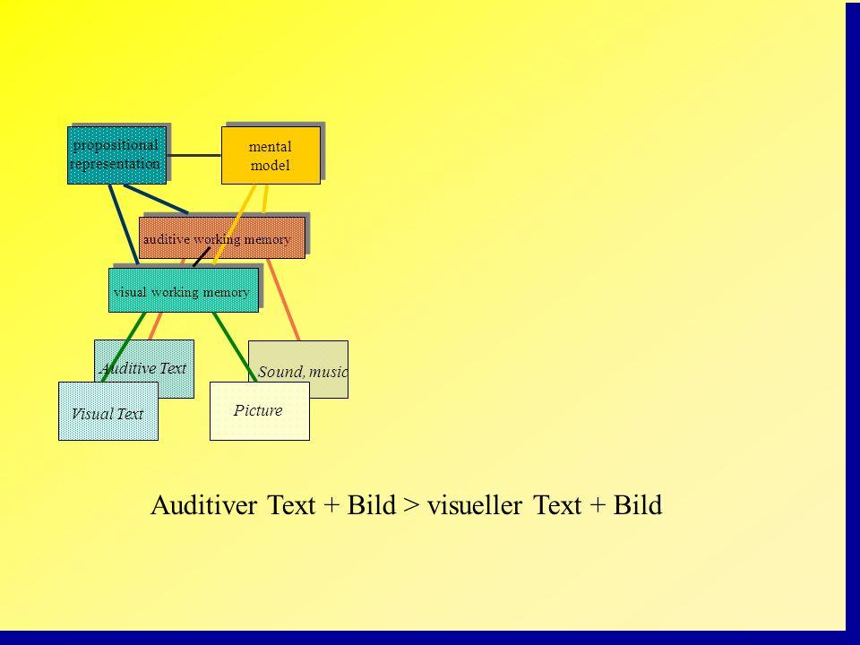 Auditiver Text + Bild > visueller Text + Bild propositional representation mental model Auditive Text Visual Text Picture visual working memory auditi