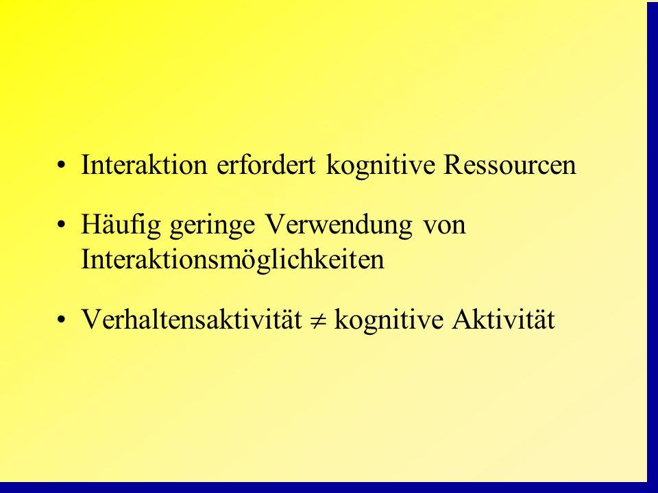 Interaktion erfordert kognitive Ressourcen Häufig geringe Verwendung von Interaktionsmöglichkeiten Verhaltensaktivität kognitive Aktivität