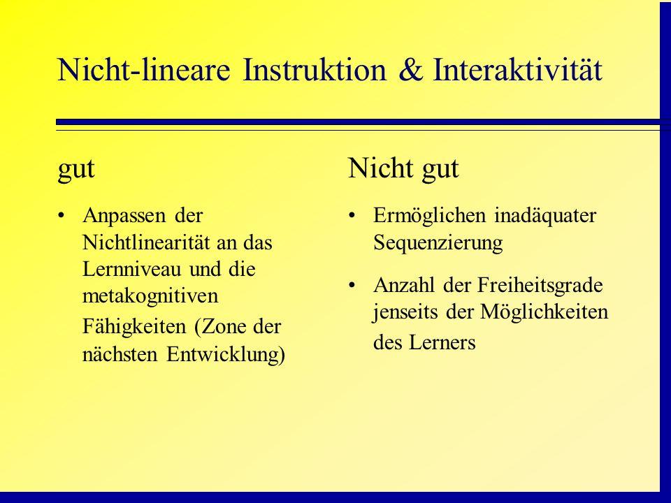 Nicht-lineare Instruktion & Interaktivität gut Anpassen der Nichtlinearität an das Lernniveau und die metakognitiven Fähigkeiten (Zone der nächsten En