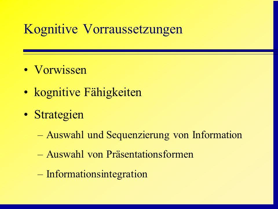 Kognitive Vorraussetzungen Vorwissen kognitive Fähigkeiten Strategien –Auswahl und Sequenzierung von Information –Auswahl von Präsentationsformen –Inf