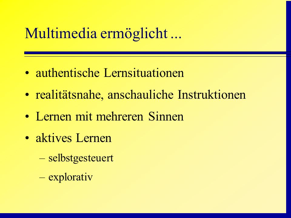 Auditiver Text + Bild > visueller Text + Bild propositional representation mental model Auditive Text Visual Text Picture visual working memory auditive working memory Sound, music