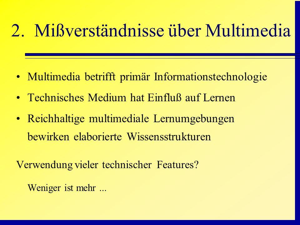 2. Mißverständnisse über Multimedia Multimedia betrifft primär Informationstechnologie Technisches Medium hat Einfluß auf Lernen Reichhaltige multimed