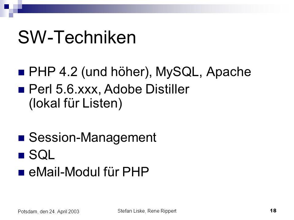 Stefan Liske, Rene Rippert18 Potsdam, den 24. April 2003 SW-Techniken PHP 4.2 (und höher), MySQL, Apache Perl 5.6.xxx, Adobe Distiller (lokal für List