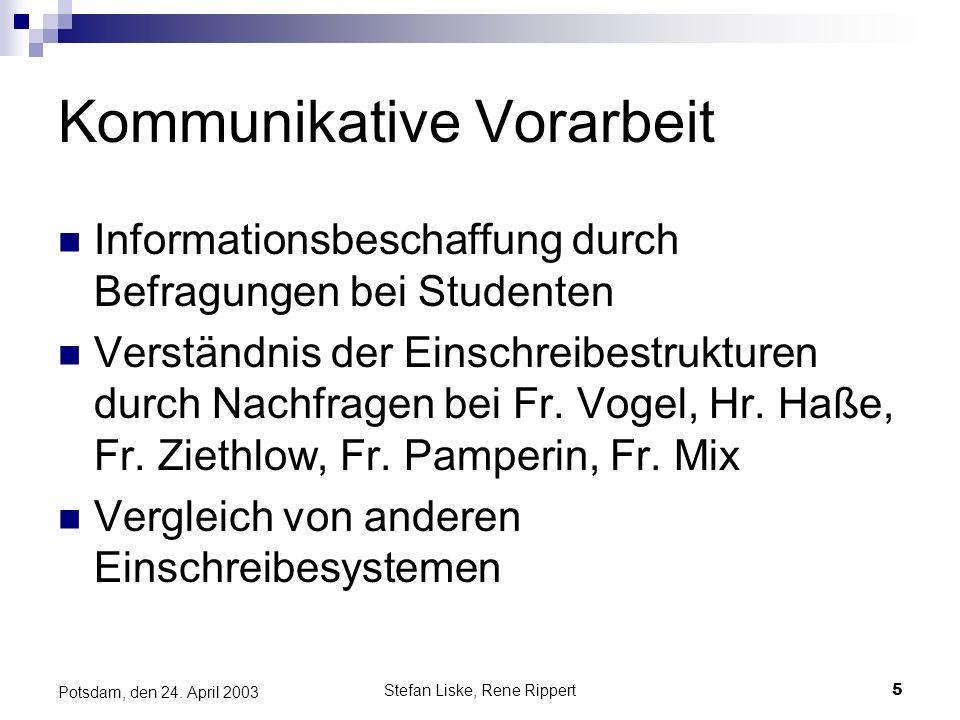 Stefan Liske, Rene Rippert5 Potsdam, den 24. April 2003 Kommunikative Vorarbeit Informationsbeschaffung durch Befragungen bei Studenten Verständnis de