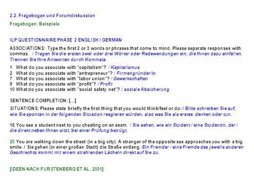 2.2. Fragebogen und Forumdiskussion Fragebogen: Beispiele ILP QUESTIONNAIRE PHASE 2 ENGLISH / GERMAN ASSOCIATIONS: Type the first 2 or 3 words or phra