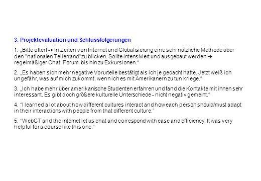3. Projektevaluation und Schlussfolgerungen 1. Bitte öfter! -> In Zeiten von Internet und Globalisierung eine sehr nützliche Methode über den