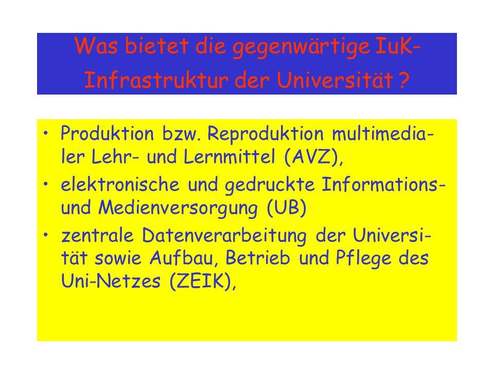Was bietet die gegenwärtige IuK- Infrastruktur der Universität .