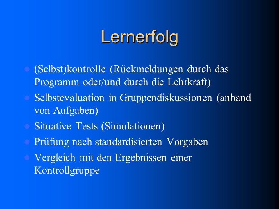 Lernerfolg (Selbst)kontrolle (Rückmeldungen durch das Programm oder/und durch die Lehrkraft) Selbstevaluation in Gruppendiskussionen (anhand von Aufga