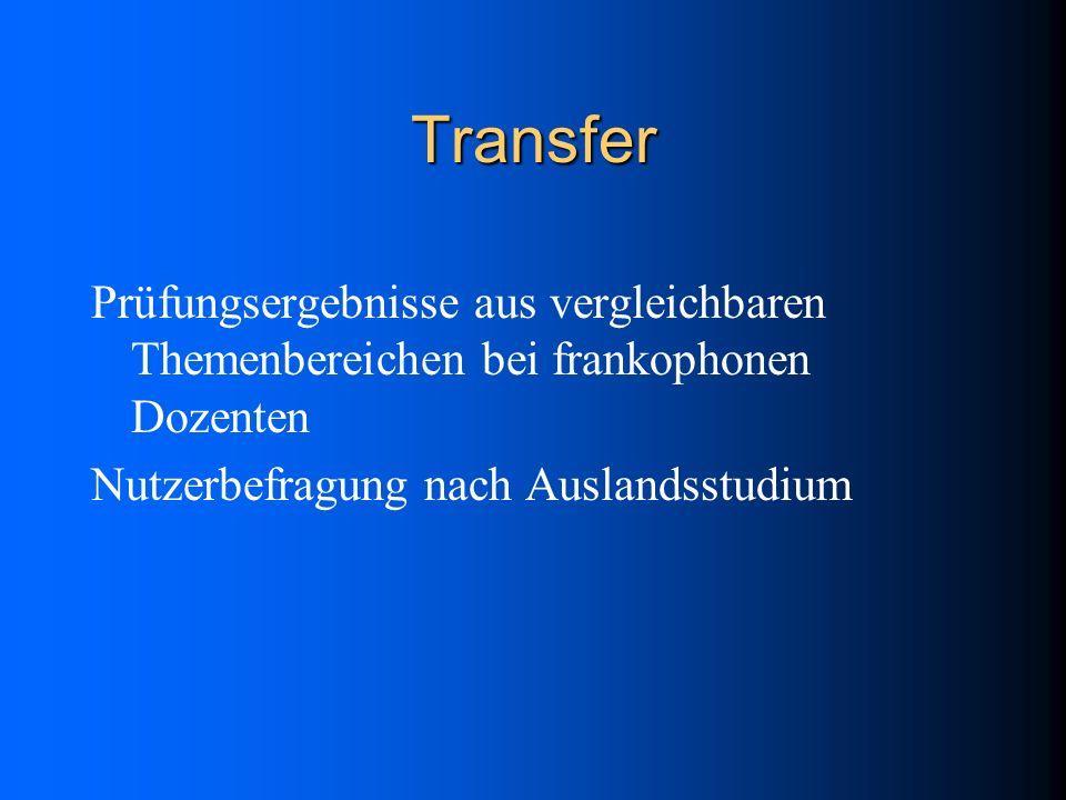 Transfer Prüfungsergebnisse aus vergleichbaren Themenbereichen bei frankophonen Dozenten Nutzerbefragung nach Auslandsstudium