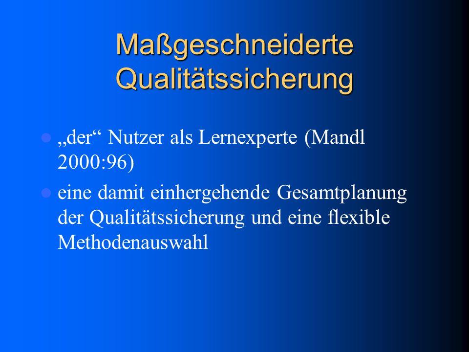 Maßgeschneiderte Qualitätssicherung der Nutzer als Lernexperte (Mandl 2000:96) eine damit einhergehende Gesamtplanung der Qualitätssicherung und eine