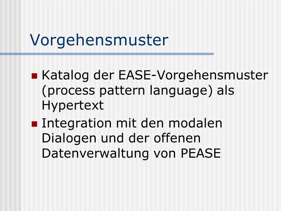 Vorgehensmuster Katalog der EASE-Vorgehensmuster (process pattern language) als Hypertext Integration mit den modalen Dialogen und der offenen Datenve