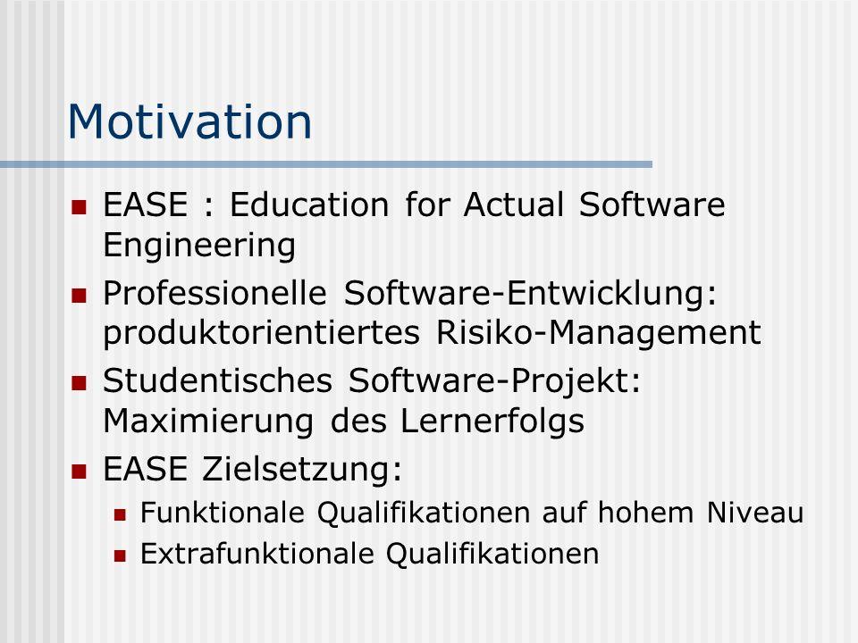 Statistikfunktionalität Motivation: Kontrolle des Projektfortschritts und der Einhaltung von EASE-Prinzipien Filterschnittstelle Vordefinierte typische Anfragen