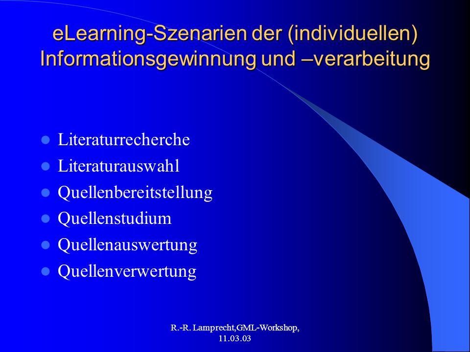R.-R. Lamprecht,GML-Workshop, 11.03.03 eLearning-Szenarien der (individuellen) Informationsgewinnung und –verarbeitung Literaturrecherche Literaturaus