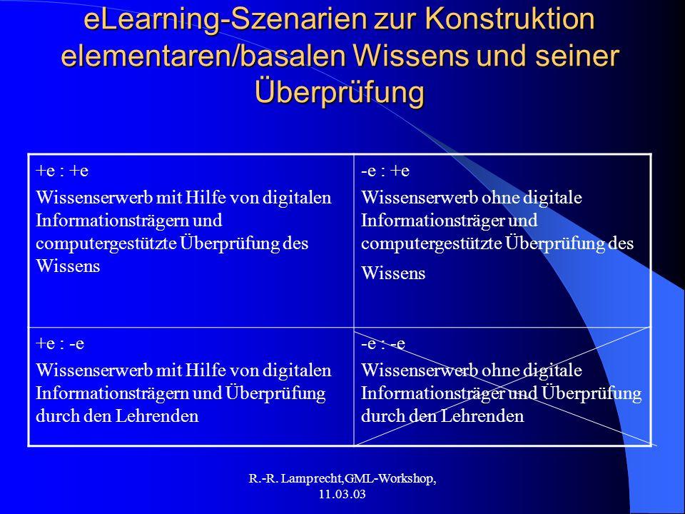 R.-R. Lamprecht,GML-Workshop, 11.03.03 eLearning-Szenarien zur Konstruktion elementaren/basalen Wissens und seiner Überprüfung +e : +e Wissenserwerb m