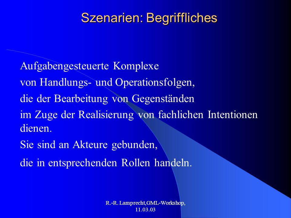 R.-R. Lamprecht,GML-Workshop, 11.03.03 Szenarien: Begriffliches Aufgabengesteuerte Komplexe von Handlungs- und Operationsfolgen, die der Bearbeitung v
