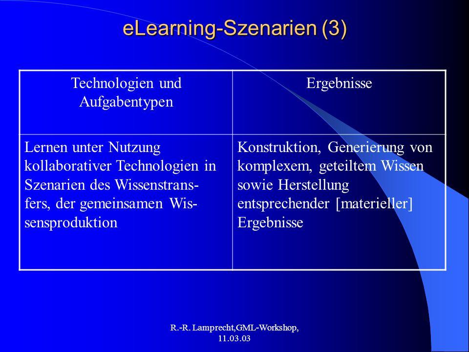 R.-R. Lamprecht,GML-Workshop, 11.03.03 eLearning-Szenarien (3) Technologien und Aufgabentypen Ergebnisse Lernen unter Nutzung kollaborativer Technolog