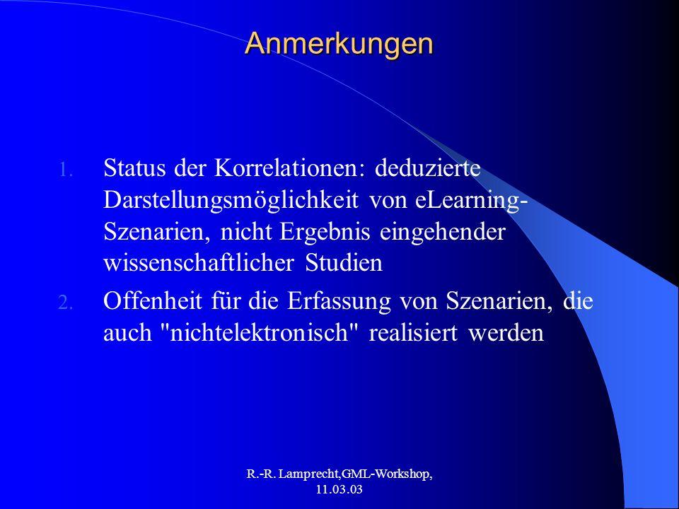 R.-R. Lamprecht,GML-Workshop, 11.03.03Anmerkungen 1. Status der Korrelationen: deduzierte Darstellungsmöglichkeit von eLearning- Szenarien, nicht Erge