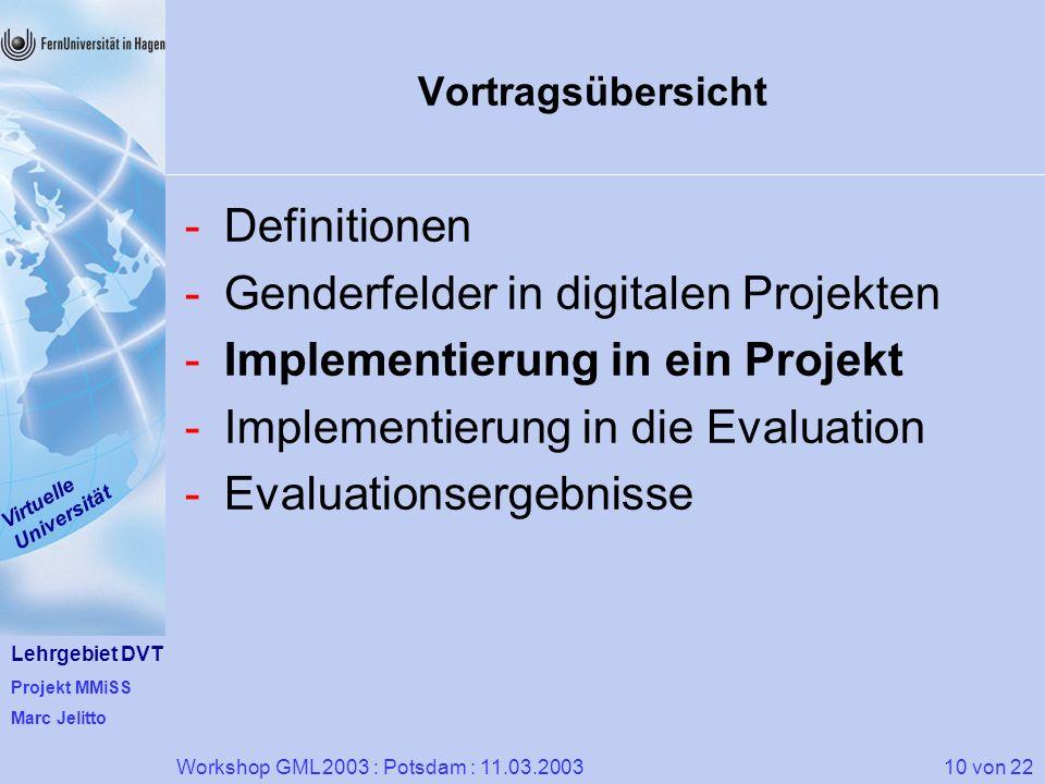 Lehrgebiet DVT Projekt MMiSS Marc Jelitto Virtuelle Universität 10 von 22Workshop GML 2003 : Potsdam : 11.03.2003 Vortragsübersicht -Definitionen -Gen
