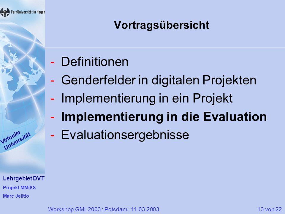 Lehrgebiet DVT Projekt MMiSS Marc Jelitto Virtuelle Universität 13 von 22Workshop GML 2003 : Potsdam : 11.03.2003 Vortragsübersicht -Definitionen -Gen