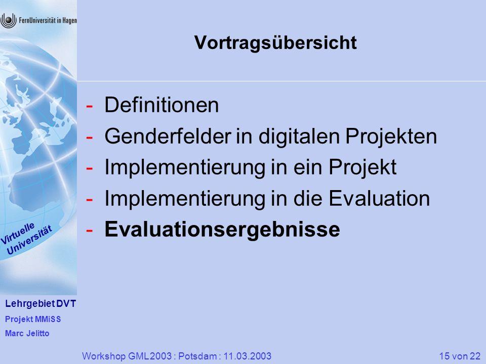 Lehrgebiet DVT Projekt MMiSS Marc Jelitto Virtuelle Universität 15 von 22Workshop GML 2003 : Potsdam : 11.03.2003 Vortragsübersicht -Definitionen -Gen