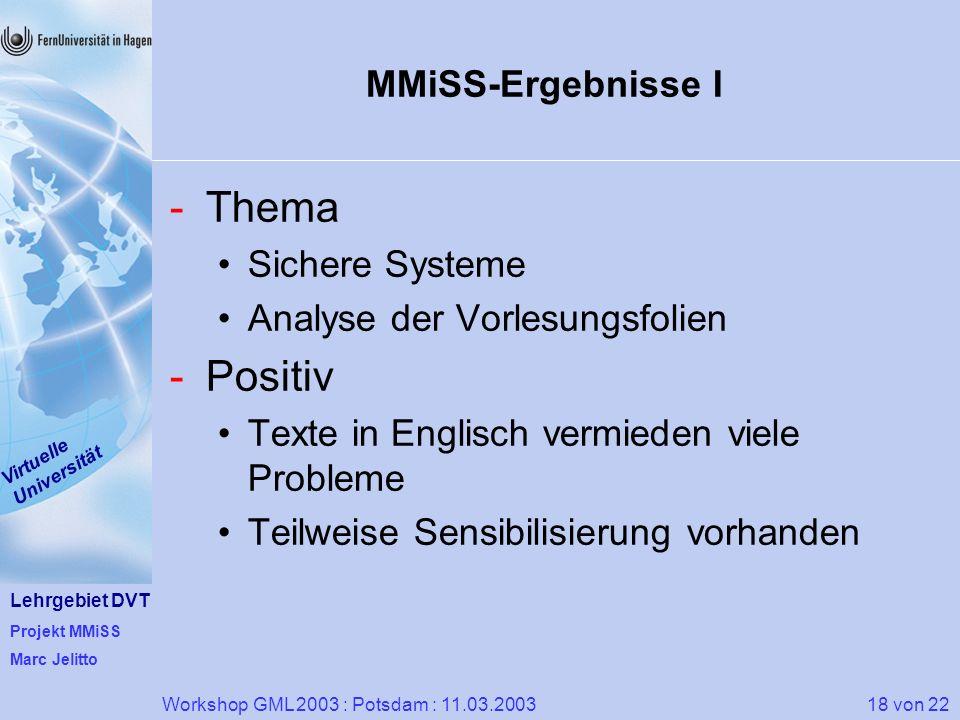 Lehrgebiet DVT Projekt MMiSS Marc Jelitto Virtuelle Universität 18 von 22Workshop GML 2003 : Potsdam : 11.03.2003 MMiSS-Ergebnisse I -Thema Sichere Sy