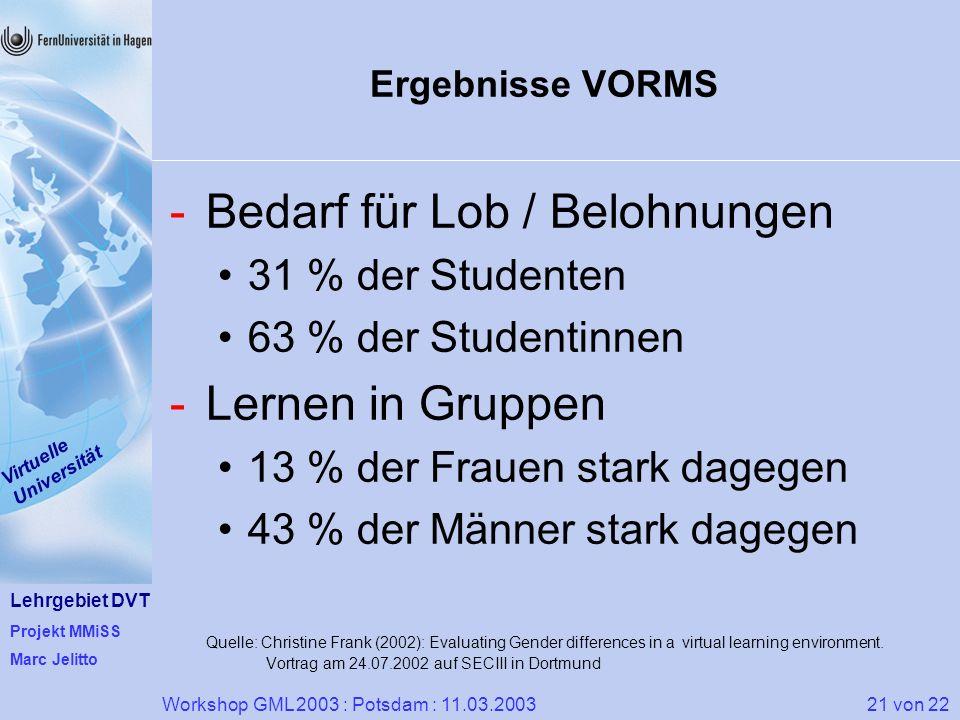 Lehrgebiet DVT Projekt MMiSS Marc Jelitto Virtuelle Universität 21 von 22Workshop GML 2003 : Potsdam : 11.03.2003 Ergebnisse VORMS -Bedarf für Lob / B