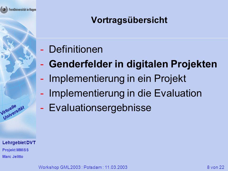 Lehrgebiet DVT Projekt MMiSS Marc Jelitto Virtuelle Universität 8 von 22Workshop GML 2003 : Potsdam : 11.03.2003 Vortragsübersicht -Definitionen -Gend