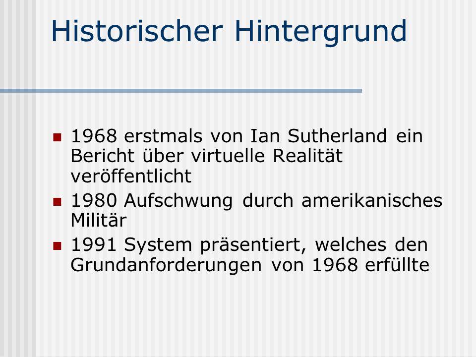 Historischer Hintergrund 1968 erstmals von Ian Sutherland ein Bericht über virtuelle Realität veröffentlicht 1980 Aufschwung durch amerikanisches Militär 1991 System präsentiert, welches den Grundanforderungen von 1968 erfüllte