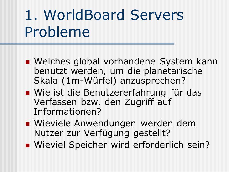 1. WorldBoard Servers Probleme Welches global vorhandene System kann benutzt werden, um die planetarische Skala (1m-Würfel) anzusprechen? Wie ist die