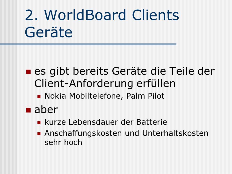 2. WorldBoard Clients Geräte es gibt bereits Geräte die Teile der Client-Anforderung erfüllen Nokia Mobiltelefone, Palm Pilot aber kurze Lebensdauer d