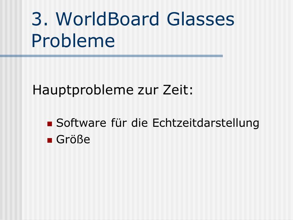 3. WorldBoard Glasses Probleme Hauptprobleme zur Zeit: Software für die Echtzeitdarstellung Größe