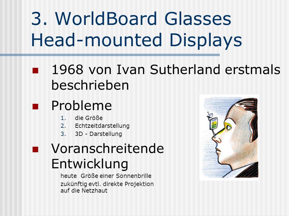 3. WorldBoard Glasses Head-mounted Displays 1968 von Ivan Sutherland erstmals beschrieben Probleme 1.die Größe 2.Echtzeitdarstellung 3.3D - Darstellun