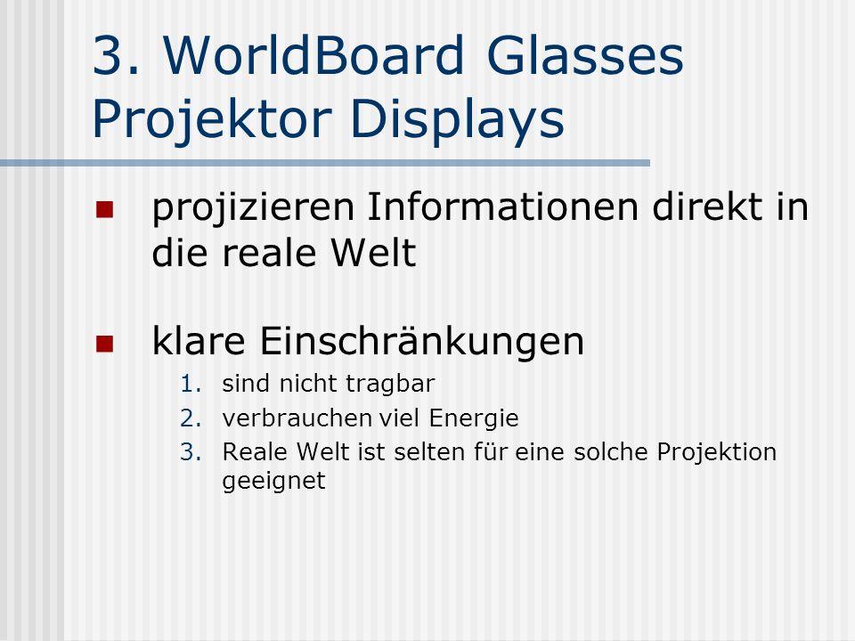 3. WorldBoard Glasses Projektor Displays projizieren Informationen direkt in die reale Welt klare Einschränkungen 1.sind nicht tragbar 2.verbrauchen v