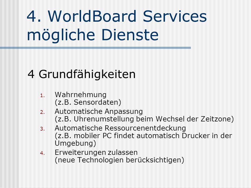 4. WorldBoard Services mögliche Dienste 4 Grundfähigkeiten 1.