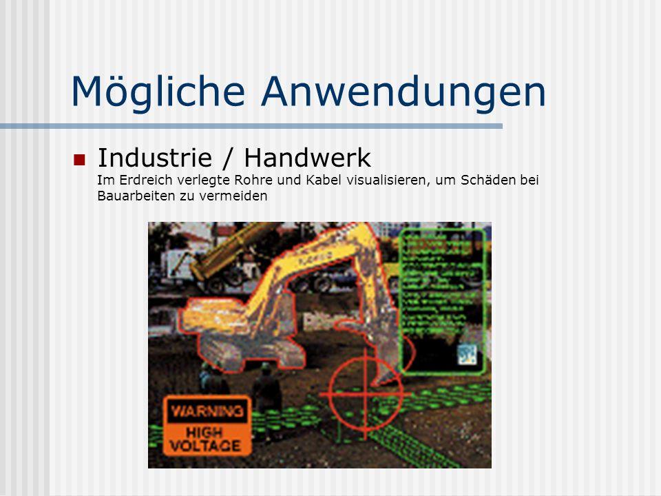 Mögliche Anwendungen Industrie / Handwerk Im Erdreich verlegte Rohre und Kabel visualisieren, um Schäden bei Bauarbeiten zu vermeiden