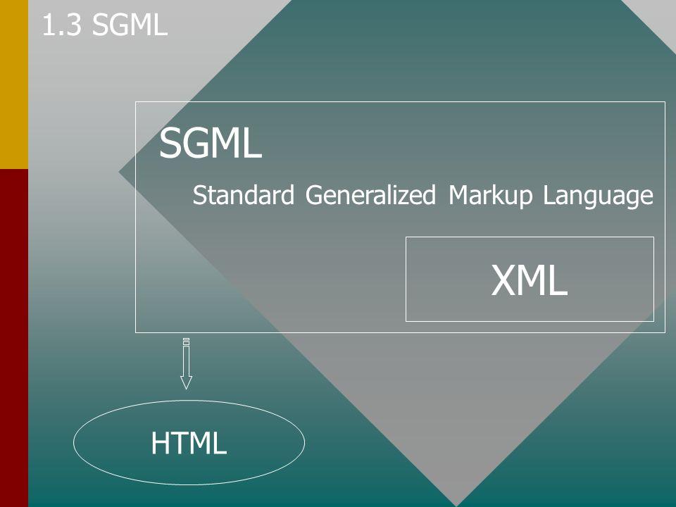 SGML Standard Generalized Markup Language XML HTML 1.3 SGML