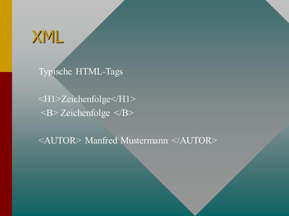 XML Typische HTML-Tags Zeichenfolge Manfred Mustermann