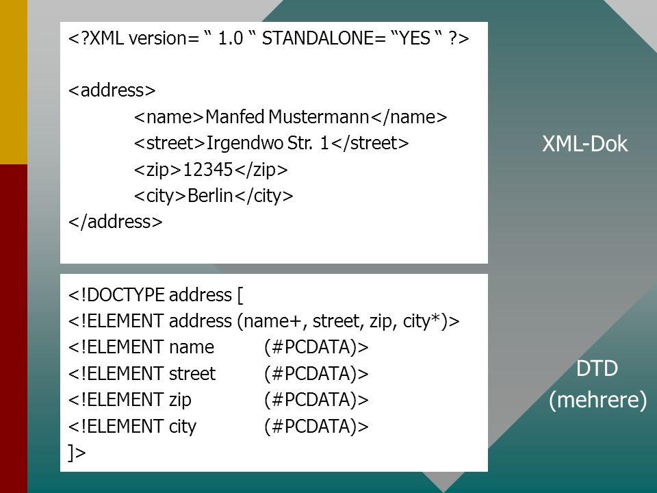 Manfed Mustermann Irgendwo Str. 1 12345 Berlin <!DOCTYPE address [ ]> XML-Dok DTD (mehrere)