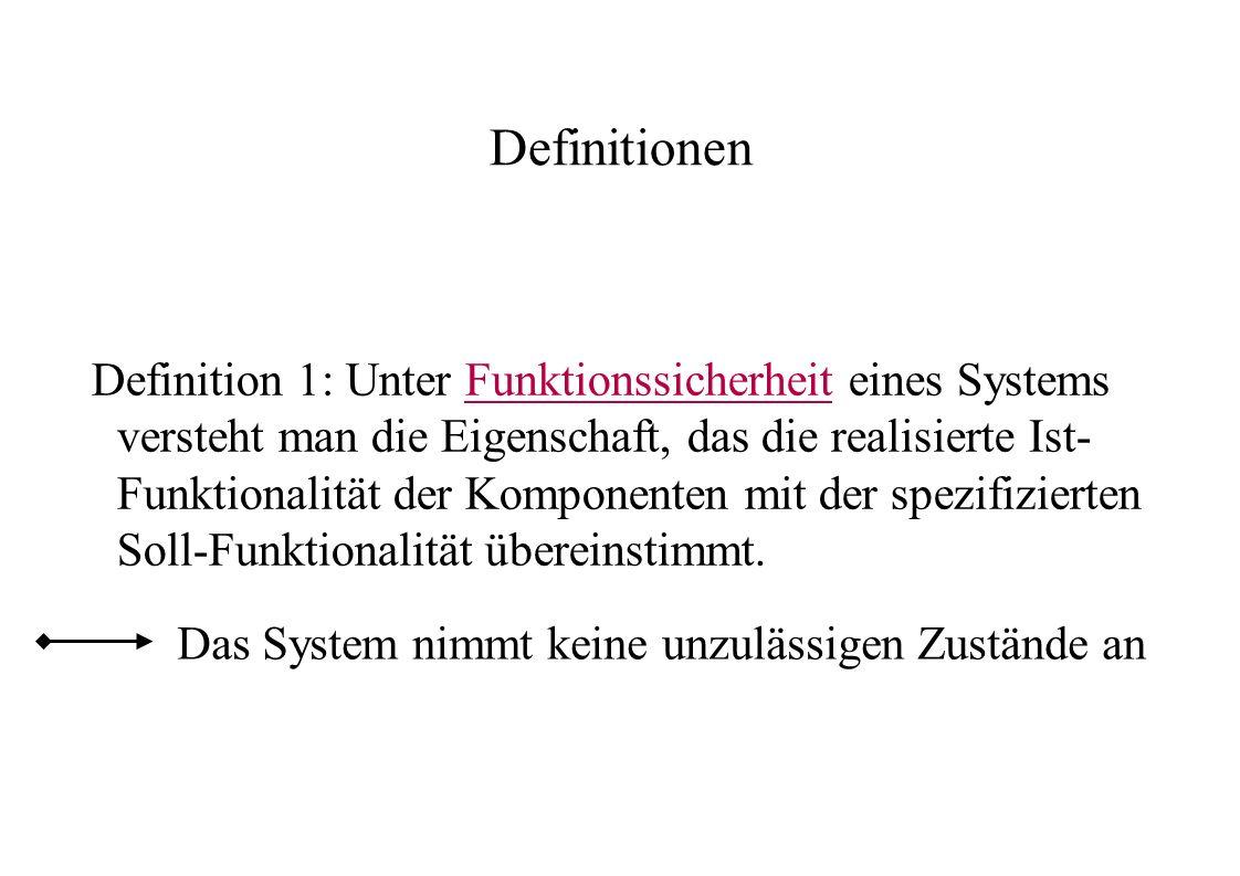 Definitionen Definition 1: Unter Funktionssicherheit eines Systems versteht man die Eigenschaft, das die realisierte Ist- Funktionalität der Komponent