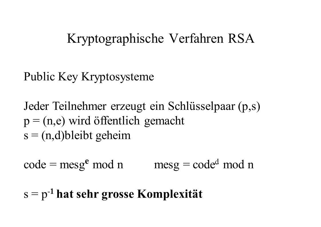 Kryptographische Verfahren RSA Public Key Kryptosysteme Jeder Teilnehmer erzeugt ein Schlüsselpaar (p,s) p = (n,e) wird öffentlich gemacht s = (n,d)bl