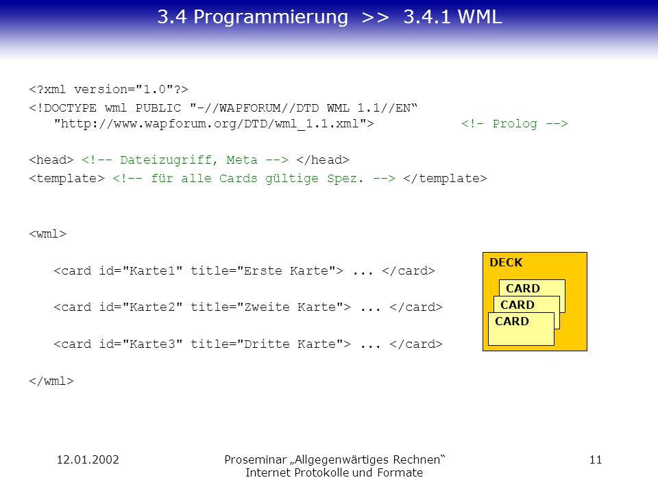 12.01.2002Proseminar Allgegenwärtiges Rechnen Internet Protokolle und Formate 11 3.4 Programmierung >> 3.4.1 WML... DECK CARD