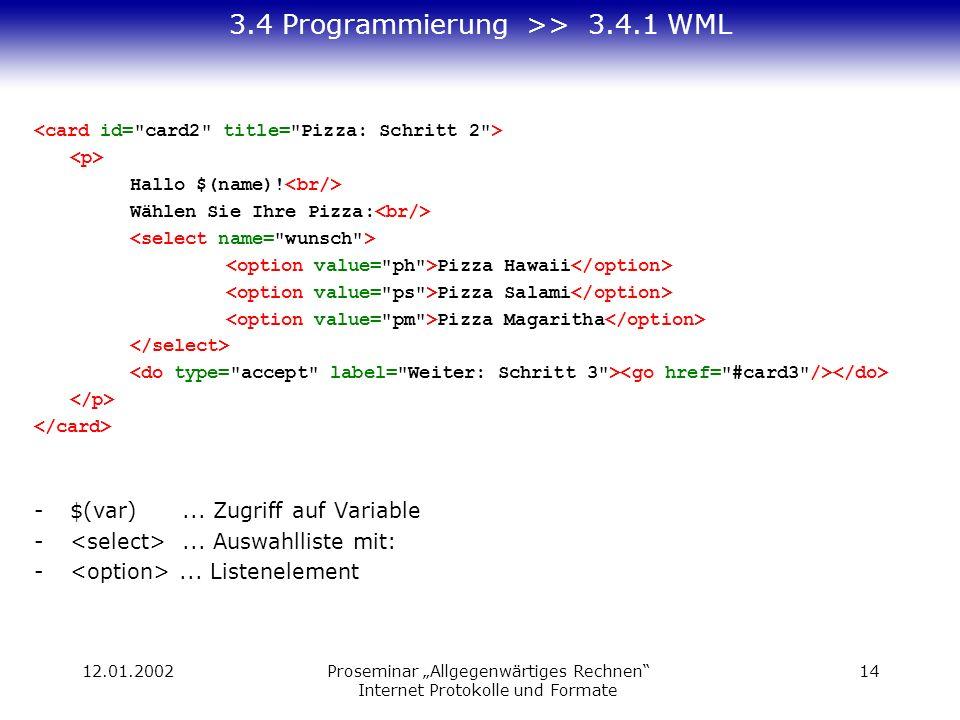 12.01.2002Proseminar Allgegenwärtiges Rechnen Internet Protokolle und Formate 14 3.4 Programmierung >> 3.4.1 WML Hallo $(name)! Wählen Sie Ihre Pizza: