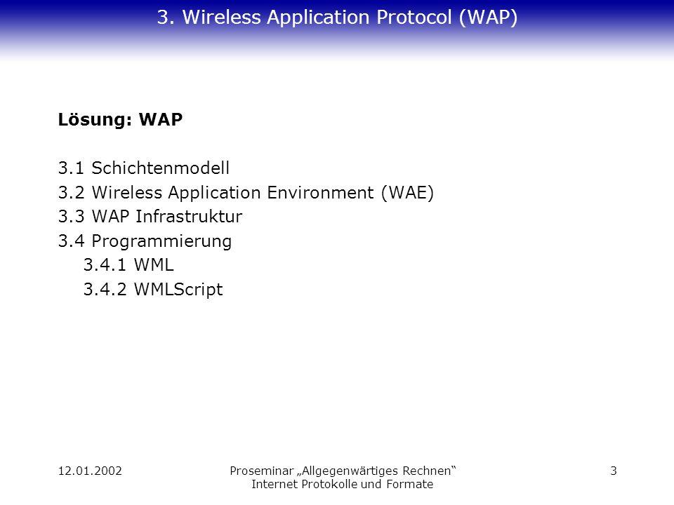 12.01.2002Proseminar Allgegenwärtiges Rechnen Internet Protokolle und Formate 3 3. Wireless Application Protocol (WAP) Lösung: WAP 3.1 Schichtenmodell