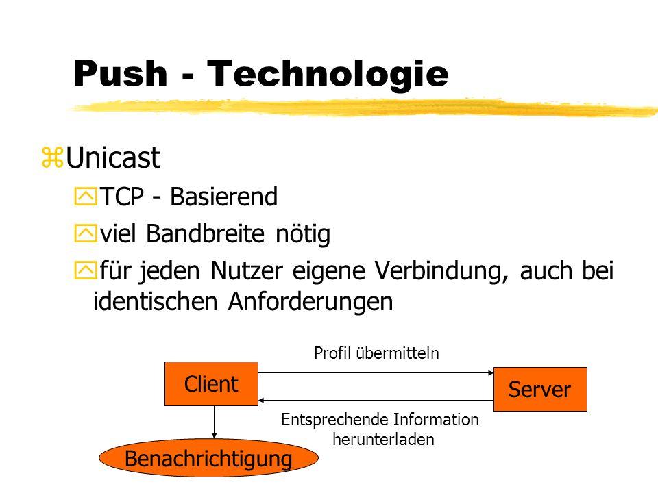 Push - Technologie zUnicast yTCP - Basierend yviel Bandbreite nötig yfür jeden Nutzer eigene Verbindung, auch bei identischen Anforderungen Browser Server Inhalt anzeigen Pull Datenanforderung Inhalt auf PC laden