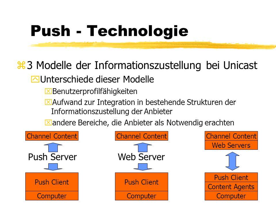Push - Technologie zUnicast yTCP - Basierend yviel Bandbreite nötig yfür jeden Nutzer eigene Verbindung, auch bei identischen Anforderungen Server Profil übermitteln Entsprechende Information herunterladen Benachrichtigung Client