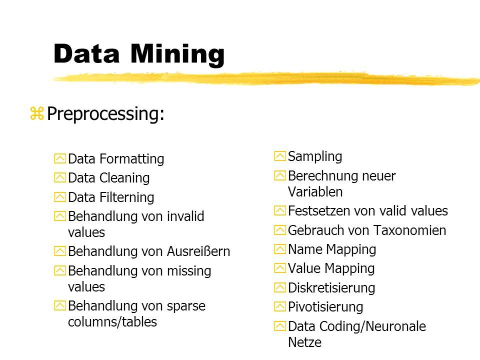 Data Mining zDatenaufbereitung yGründe: xDaten sind ungeordnet xunbrauchbare Daten sind enthalten xExistenz von Lücken in der Datensammlung